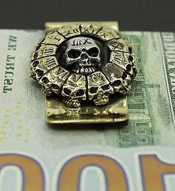 Skull Stainless Steel Money Clip Cash Credit Card Holder Wal