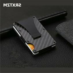 Slim Carbon Fiber Credit Card Holder RFID Non-scan Metal Wal