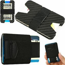 Slim Carbon Fiber Credit Card Holder RFID Non-scan Metal Wal