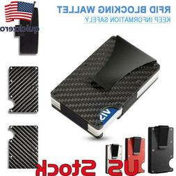 Slim Carbon Fiber Credit Card Holder RFID Blocking Metal Wal