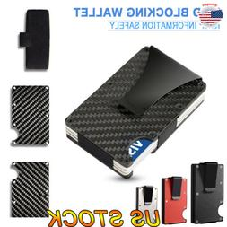 Slim Carbon Fiber ID Credit Card Holder Blocking Metal Walle