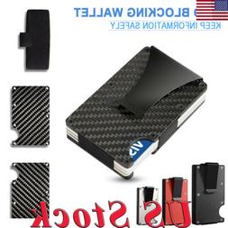 Slim Carbon Fiber ID Credit Card RFID Blocking Metal Wallet
