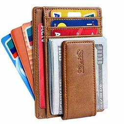 Slim Minimalist Bifold Front Pocket Wallet with Strong Magne