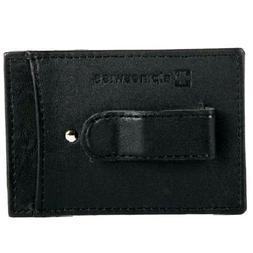 Money Clip Alpine Swiss Men's Slim Black Leather Wallet Card