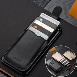 slim pu leather credit id card wallet