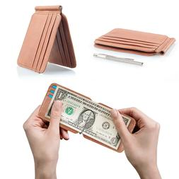 Slim Thin Mens Genuine Leather Wallet Clip ID Credit Card Mo
