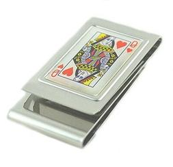 stainless steel money clip queen of hearts