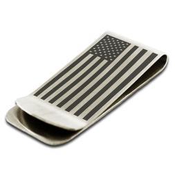 Stainless Steel United States of America Flag Slim Wallet Ca