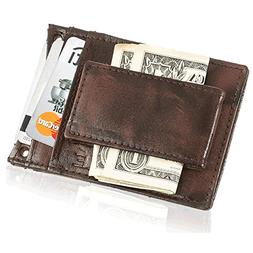 Suvelle Mens Leather Slim Magnetic Money Clip Front Pocket M