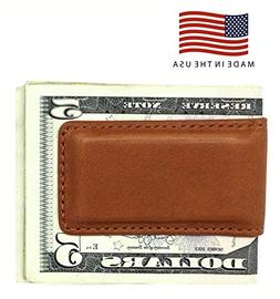 Tan Montana Genuine Leather Magnetic Money Clip – American