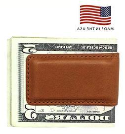 tan montana genuine leather magnetic money clip