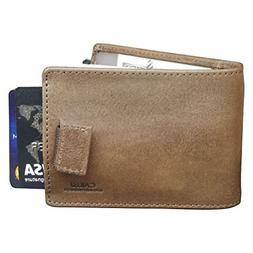 CAILLU Tiny leather wallet Men Id money Clip,Purse Card,Desi