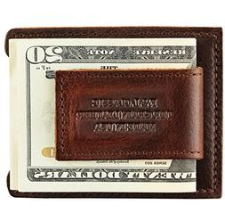 top grain leather money clip magnetic front