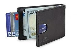 Travel Wallet RFID Blocking Bifold Slim Genuine Leather Thin