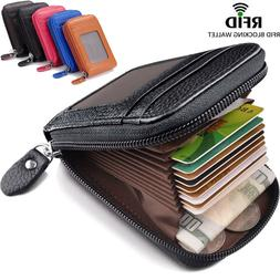 Unisex RFID Blocking Slim Wallet Leather Money Clip Credit C