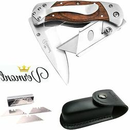 Utility Knife Folding Box Cutter - Best Work Knife with Clip