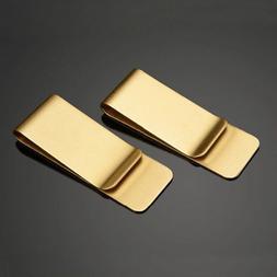 Vintage Brass Metal Money Clip Credit Card Cash Holder Pocke