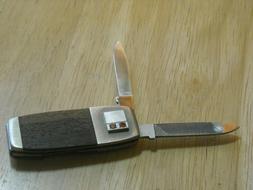 VINTAGE GERBER POCKET KNIFE MONEY CLIP WOOD GRAIN HANDLE NIC
