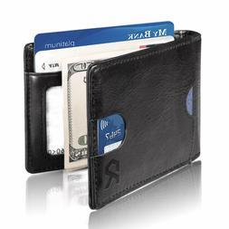 Wallets Mens Money Clip Front Pocket ,Genuine Leather Slim W