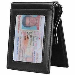 Wallets RFID Blocking Slim For Men Money Clip Bifold Grain L