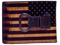 Nocona Western Mens Money Clip Vintage USA Flag Red White N5