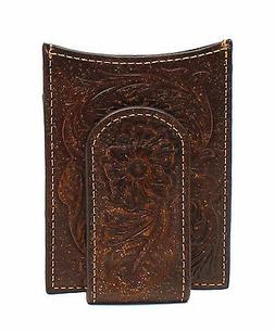 Ariat Western Mens Wallet Money Clip Leather Floral Embossed