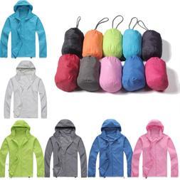 Women Mens Rain Coat Waterproof Jacket Windproof Hooded Hiki