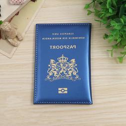 Women Red Gold Cute Travel Netherlands Passport Cover Case M