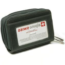 Alpine Swiss Women's Accordian Genuine Leather Wallet Grey B